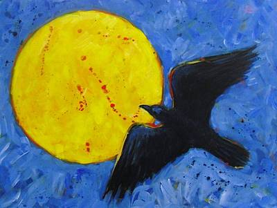 Big Full Moon And Raven Art Print