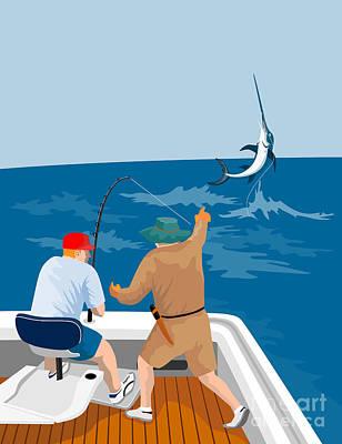 Big Game Fishing Blue Marlin Print by Aloysius Patrimonio
