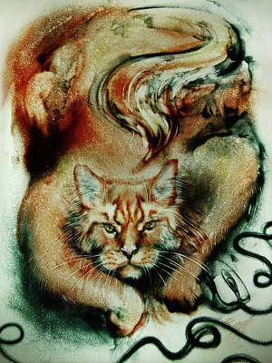 Drawing - Big Ginger Cat. Sand Art by Elena Vedernikova