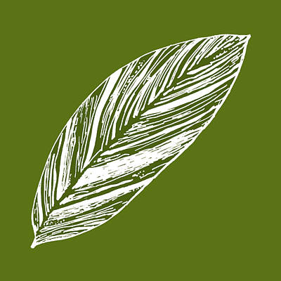 Digital Art - Big Ginger Leaf - Olive by Karen Dyson