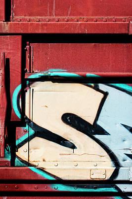 Train Car Photograph - Big Graffiti Letter S by Carol Leigh