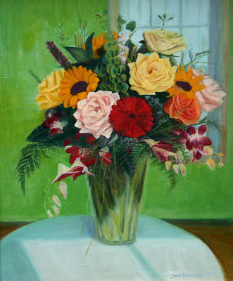 Floral Guest Room Painting - Big Green Bouquet by Jane  Simonson