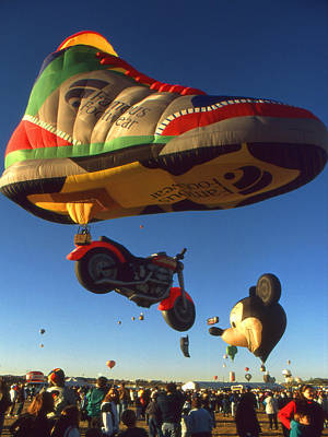 Photograph - Big Green Shoe On Blue Sky - Hot Air Balloon by Peter Potter
