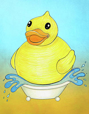 Drawing - Big Happy Rubber Duck by Shawna Rowe