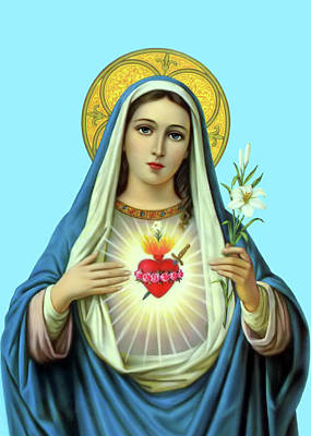 Painting - Big Heart Of Mary by Munir Alawi