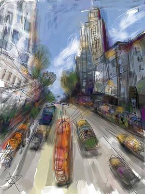 Trolley Digital Art - Big Hill City by Russell Pierce