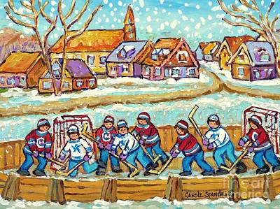 Pond Hockey Painting - Big Hockey Game Outdoor Ice Rink Snowy Winter Scene Painting Canadian Art C Spandau Quebec Artist    by Carole Spandau