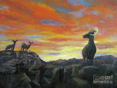 Painting - Big Horn Sheep At Sunset by Roseann Gilmore