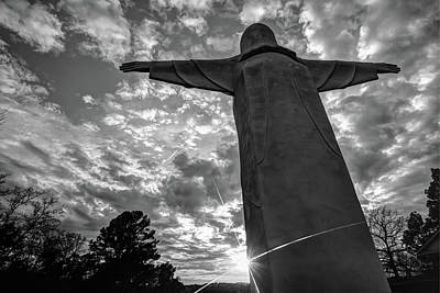 Big Jesus - Christ Of The Ozarks In Black And White Art Print by Gregory Ballos