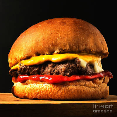 Photograph - Big Juicy Cheese Burger Hold The Pickle Hold The Lettuce Painterly 20170918 Square by Wingsdomain Art and Photography