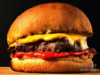 Photograph - Big Juicy Cheese Burger Hold The Pickle Hold The Lettuce Painterly 20170918 by Wingsdomain Art and Photography