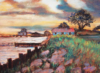 Art Print featuring the painting Big Lake Bulkhead by AnnE Dentler