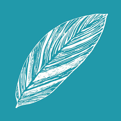 Digital Art - Big Ginger Leaf - Teal by Karen Dyson