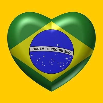 Flag Digital Art - Big Love To Brazil by Alberto RuiZ