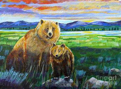 Yellowstone Painting - Big Mama And Her Cub by Harriet Peck Taylor