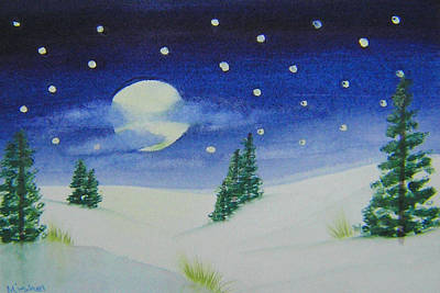 Painting - Big Moon Christmas by Mishel Vanderten