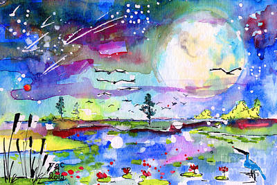 Big Moon Painting - Big Moon Wetland Magic by Ginette Callaway