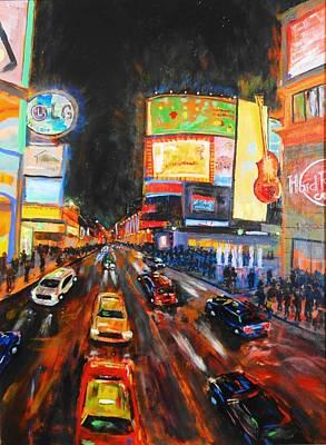 Trolling Painting - Big Night Yonge Dundas by Brent Arlitt