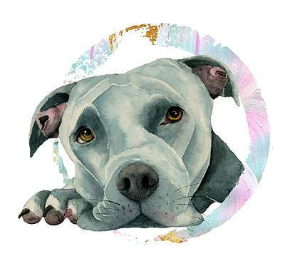 Watercolor Pet Portraits Mixed Media - Big Ol' Head 2 by NamiBear