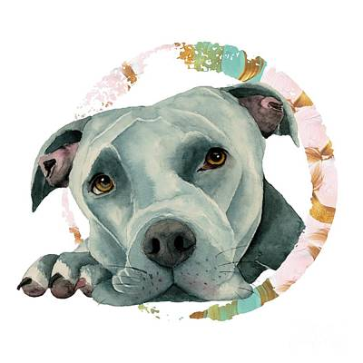 Watercolor Pet Portraits Mixed Media - Big Ol' Head 3 by NamiBear