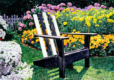 Flowerbed Painting - Big Old Chair Evening Light by David Lloyd Glover
