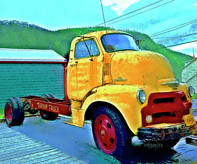 Digital Art - Big Old Chevy Truck - The Turnip Truck by Rebecca Korpita