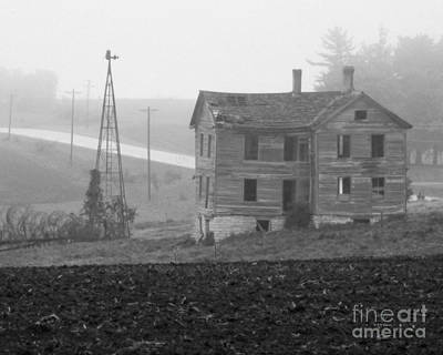 Photograph - Big Old House In Fog - Bw by Kathy M Krause