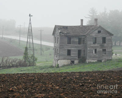 Photograph - Big Old House In Fog by Kathy M Krause