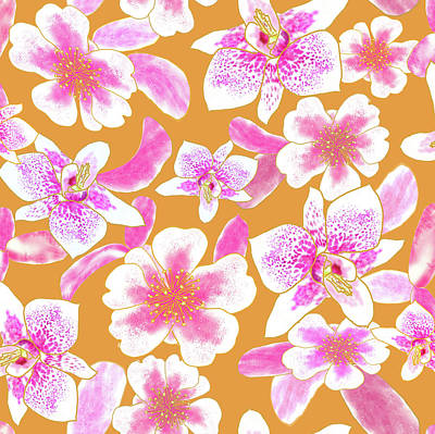 Digital Art - Big Orchids Mango Orange by Karen Dyson