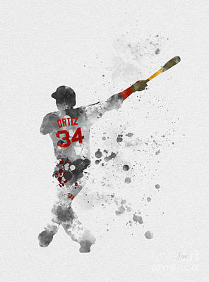 Boston Red Mixed Media - Big Papi by Rebecca Jenkins