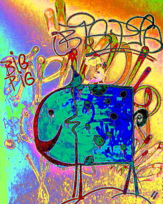 Digital Art - Big Pig by Larry Beat