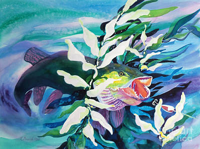 Painting - Big Pike On The Hunt by Kathy Braud