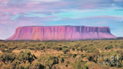 Digital Art - Big Pink Mesa by Walter Colvin