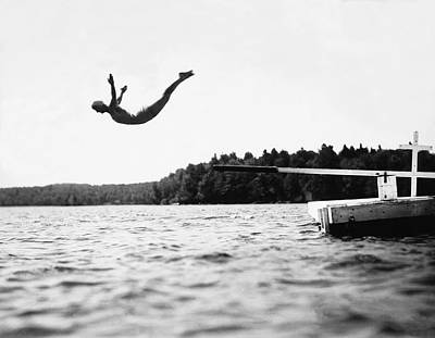 Swimsuit Photograph - Big Pond Swan Dive by Underwood Archives
