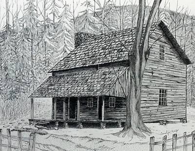 Drawing - Big Porch Cabin by Carolyn Koup