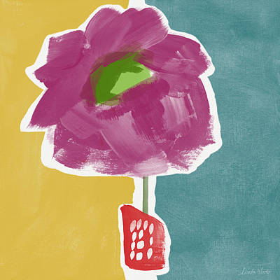 Minimal Mixed Media - Big Purple Flower In A Small Vase- Art By Linda Woods by Linda Woods