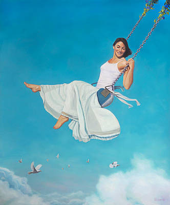 Floating Girl Painting - Big Push by Paul Bond