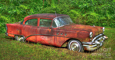 Photograph - Big Red 1955 Buick Roadmaster Special 4 Door Sedan Art by Reid Callaway