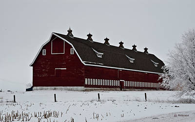 Photograph - Big Red Barn In The Winter by Edward Peterson