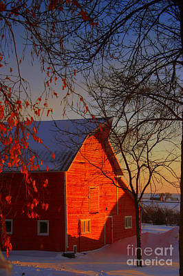 Winter Photograph - Big Red Barn by Julie Lueders