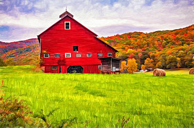 Weed Photograph - Big Red Barn - Paint by Steve Harrington