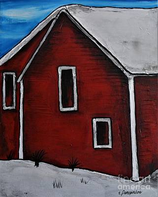 Red Barn In Winter Painting - Big Red Barn by Patricia Panopoulos