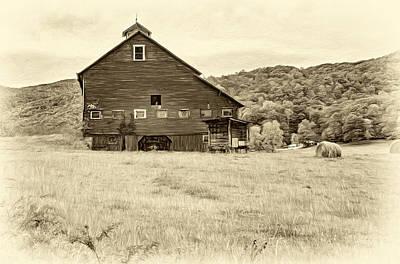 Weed Digital Art - Big Red Barn - Sepia by Steve Harrington