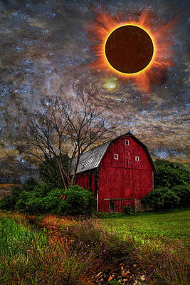 Photograph - Big Red Barn Under Full Solar Eclipse by Debra and Dave Vanderlaan