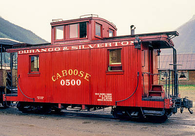 Photograph - Big Red Caboose Of The Durango And Silverton Railroad Steam Train  by John Brink