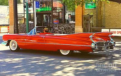 Photograph - Big Red Cadillac Convertible Summer In The City by Manuel Matas