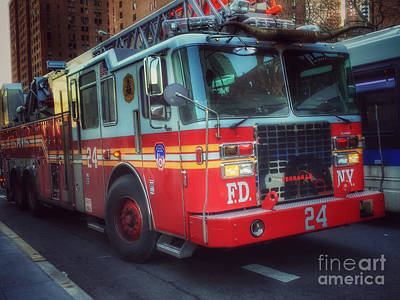 Photograph - Big Red Engine 24 - Fdny - Firefighters Of New York by Miriam Danar