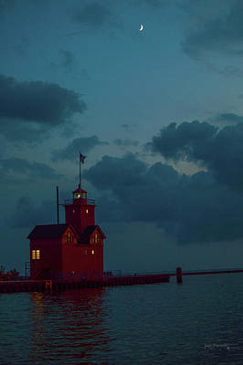 Photograph - Big Red Lighthouse Holland Michigan With Crescent Moon by Ken Figurski