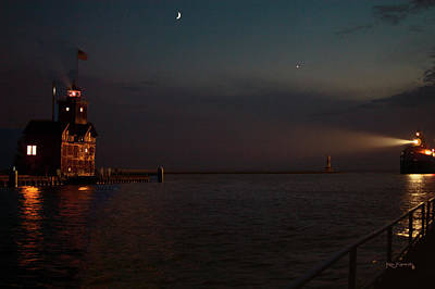 Photograph - Big Red Lighthouse Holland Michigan With Freighter Darker by Ken Figurski