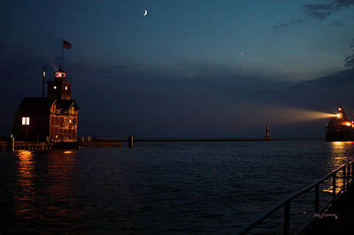 Photograph - Big Red Lighthouse Holland Michigan With Freighter by Ken Figurski